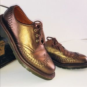 Dr Martens bronze metallic leather oxfords Evelyn